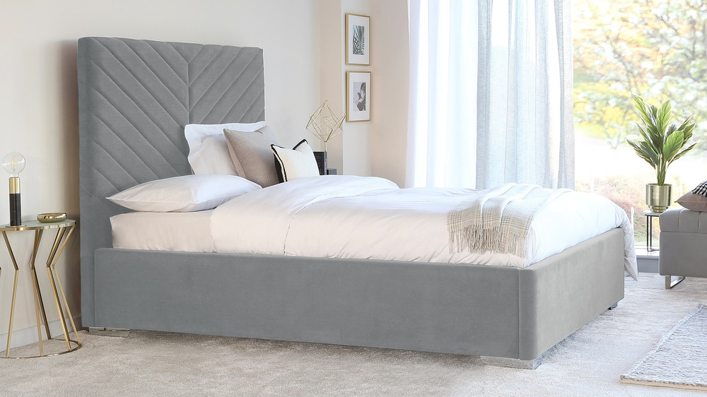 Leo Feather Grey King Size Velvet Bed with Storage