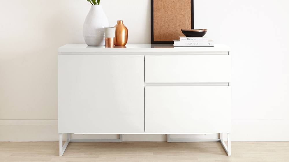 Small Modern White Sideboard With Drawers