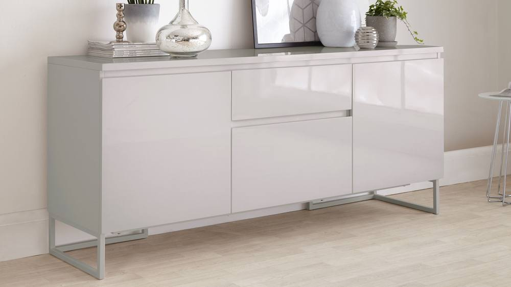 Grey Gloss Large Shiny Sideboard