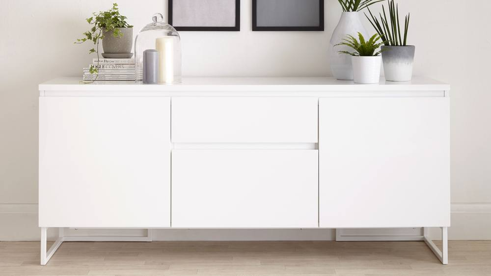 Finest Contemporary White High Gloss Sideboard With Storage Uk Gv43