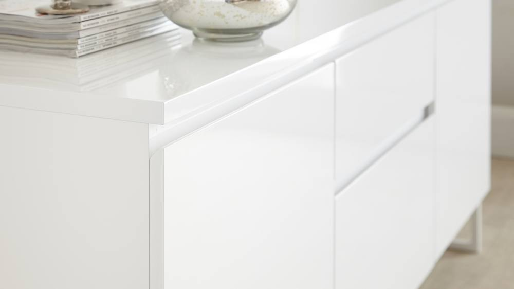 White gloss large sideboard with cupboards and drawers