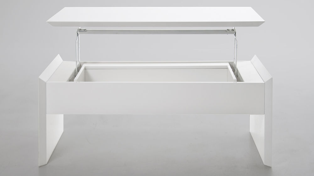White Gloss Coffee Table with Internal Storage