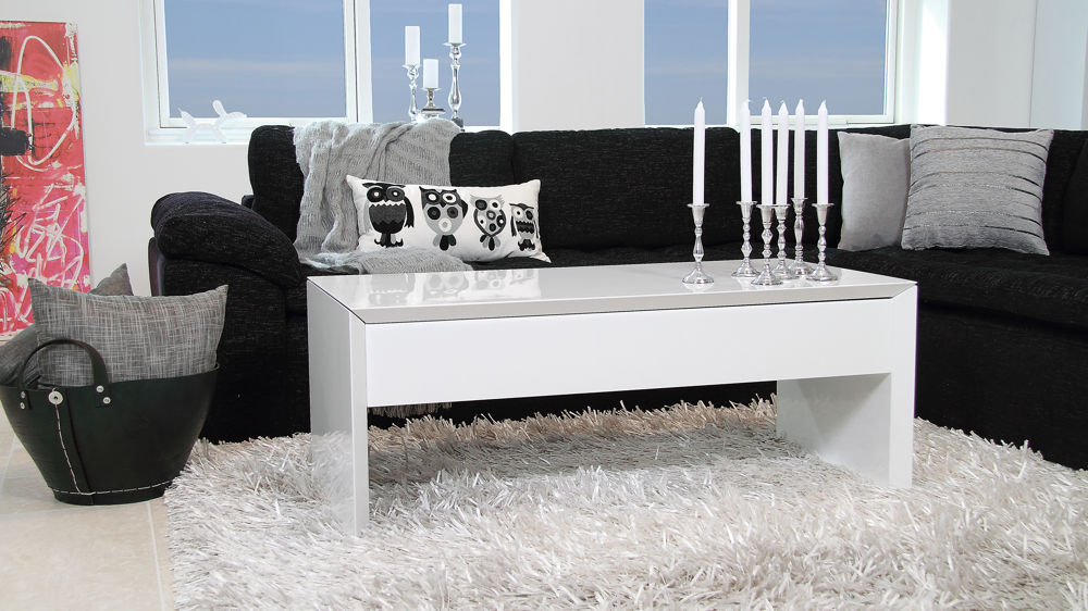 Modern White Gloss Coffee Table Locking Lid And Storage
