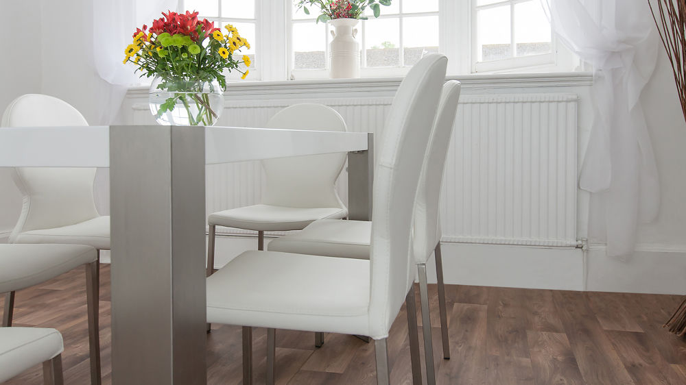 Modern White Chairs with Brushed Metal Legs