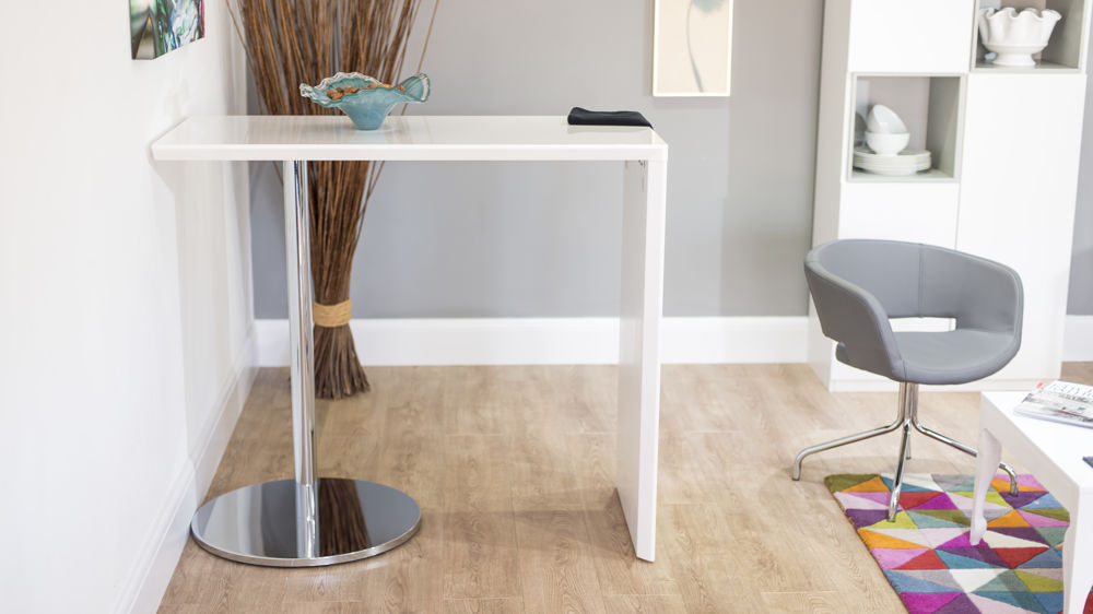 Modern White Gloss Bar Table With Round Chrome Base