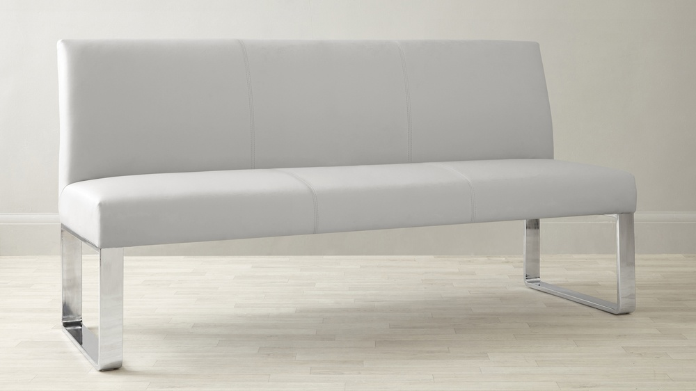 3 Seater Bench with Backrest and chrome legs