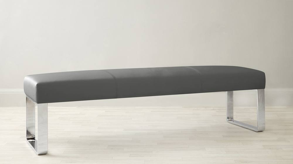 3 seater backless dining bench | faux leather & chrome 3 Seater Dining Bench