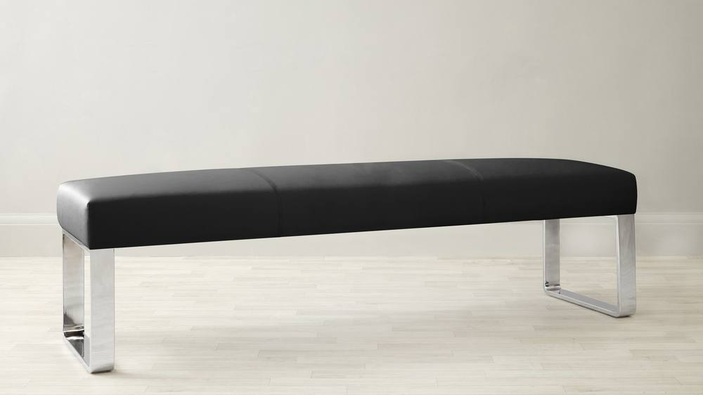 Black faux leather dining bench