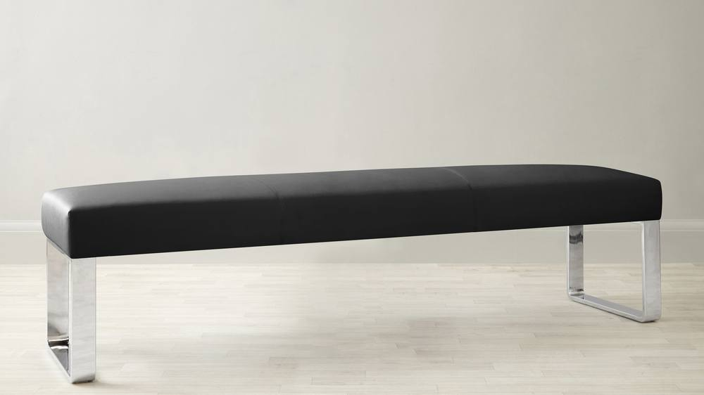 Black faux leather large dining bench