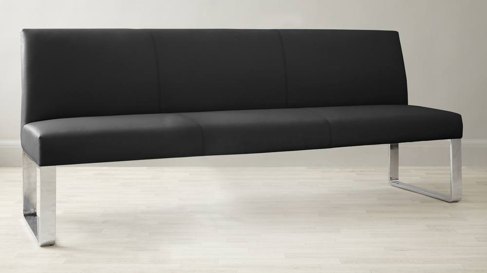 Black Leather 4 to 5 Seater Bench