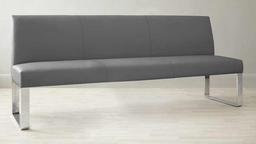 Dark Grey Comfy Leather Bench