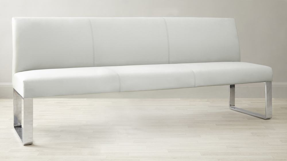 White Leather Bench with backrest