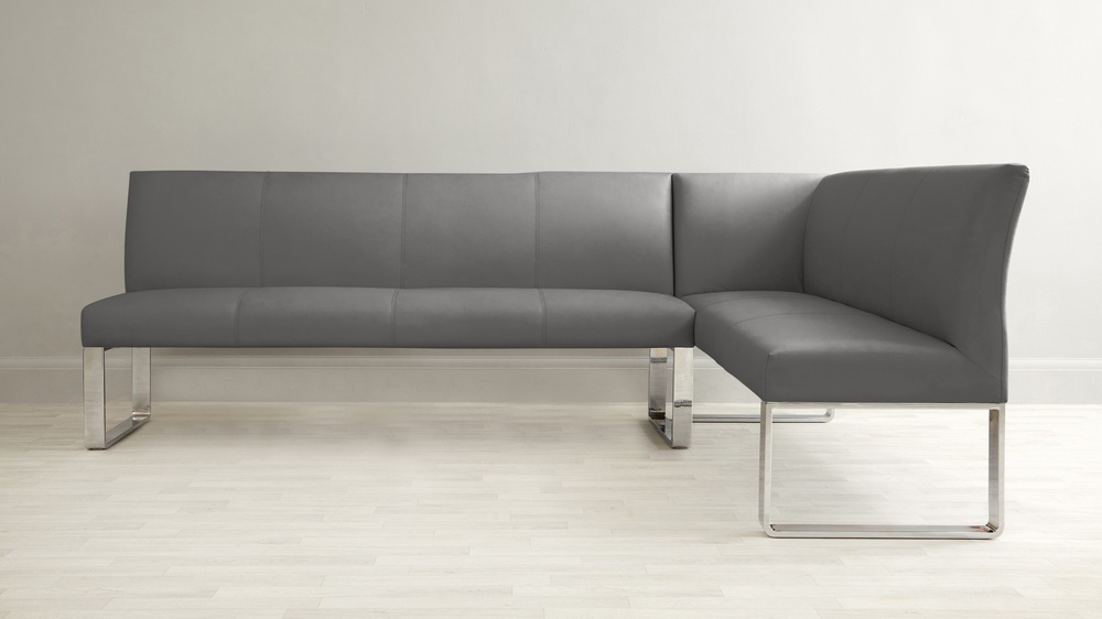 Dark grey leather family corner bench