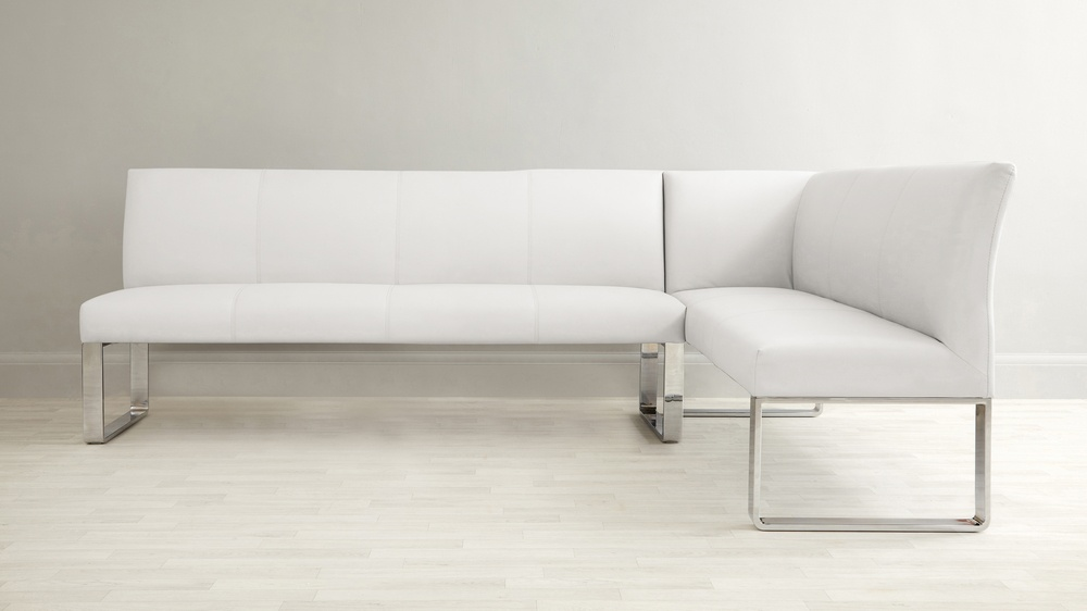 White faux leather large bench