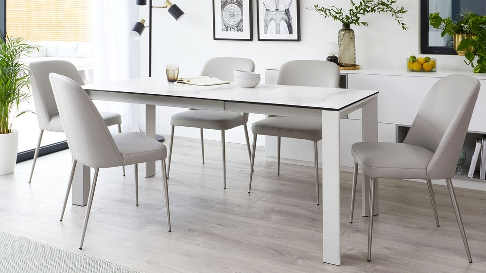 Louis White Marble Ceramic Extending Dining Table
