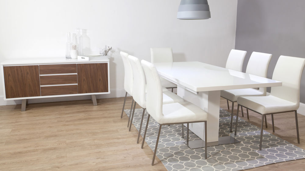 Modern White Lether Dining Chair With White Gloss Dining Table
