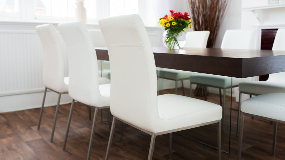 White Leather dining chair with Metal legs