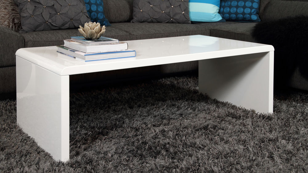 Modern White Gloss Coffee Table Rectangular Coffee Table