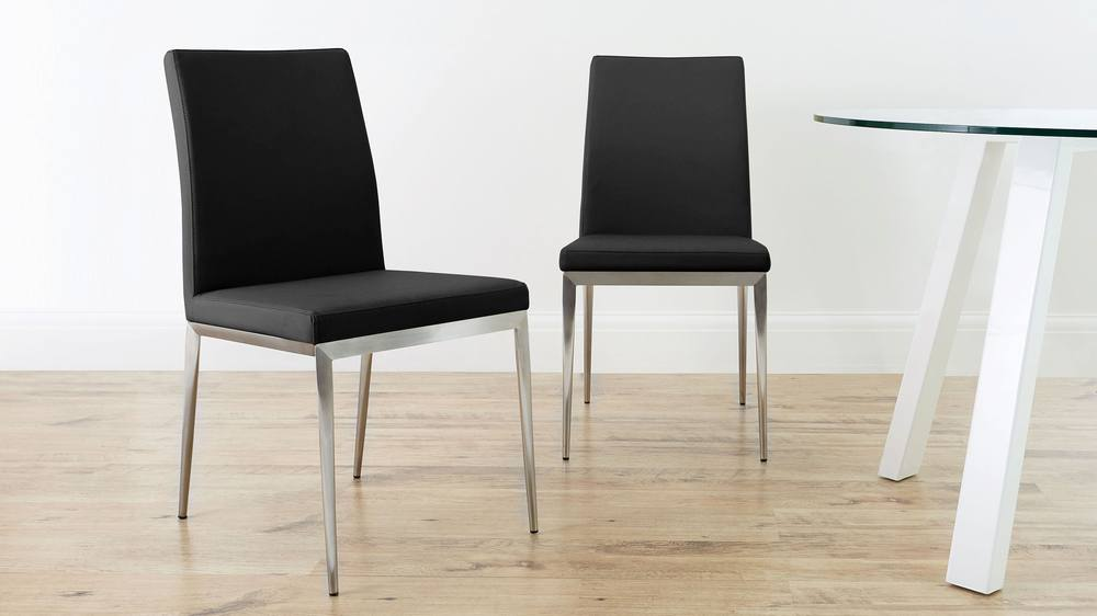 Stylish Faux Leather Dining Chairs with Brushed Metal Legs