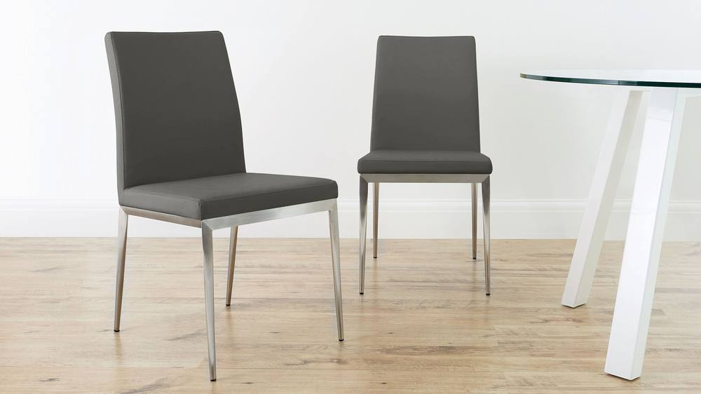 Brushed Metal Legged Dining Chairs