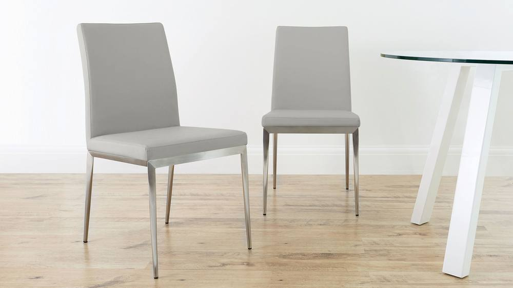 Comfortable Light Grey Dining Chairs & Lucia Brushed Metal Dining Chairs | Danetti