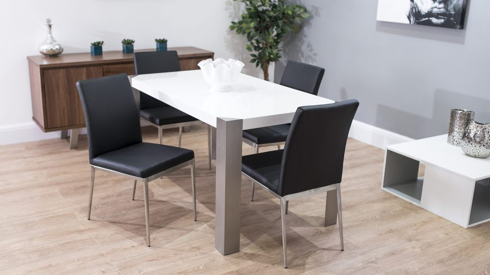 White Gloss Dining Table With Black Chairs