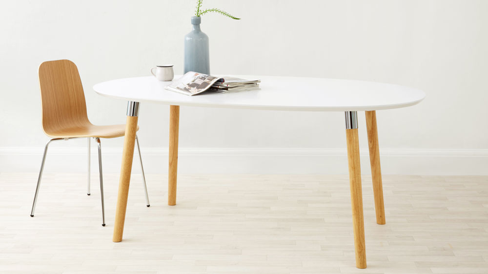 six seater white oval dining table uk