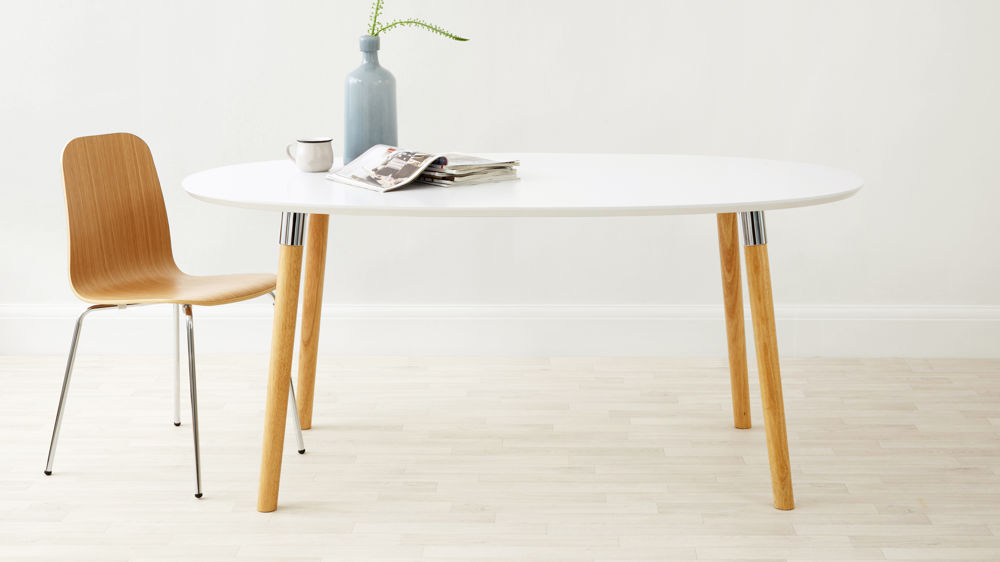 six seater white round dining table uk