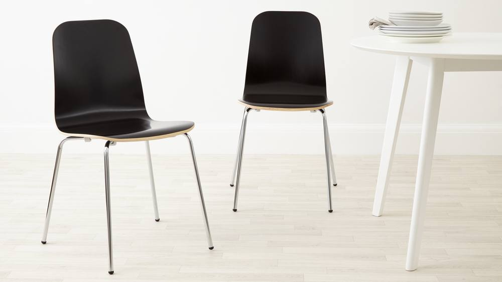 Black painted wood scandi style dining chair