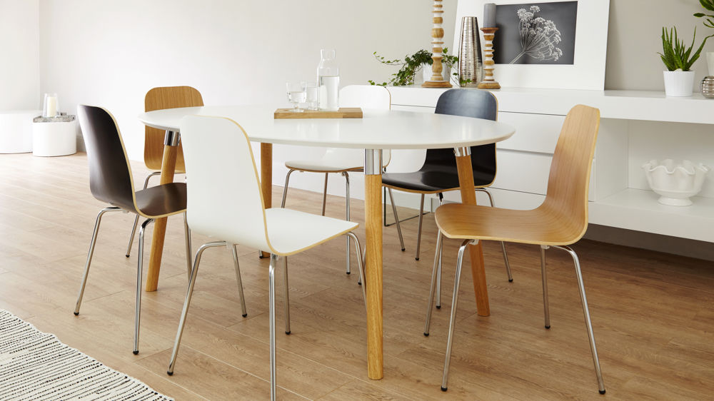 6 seater extending white and oak dining set