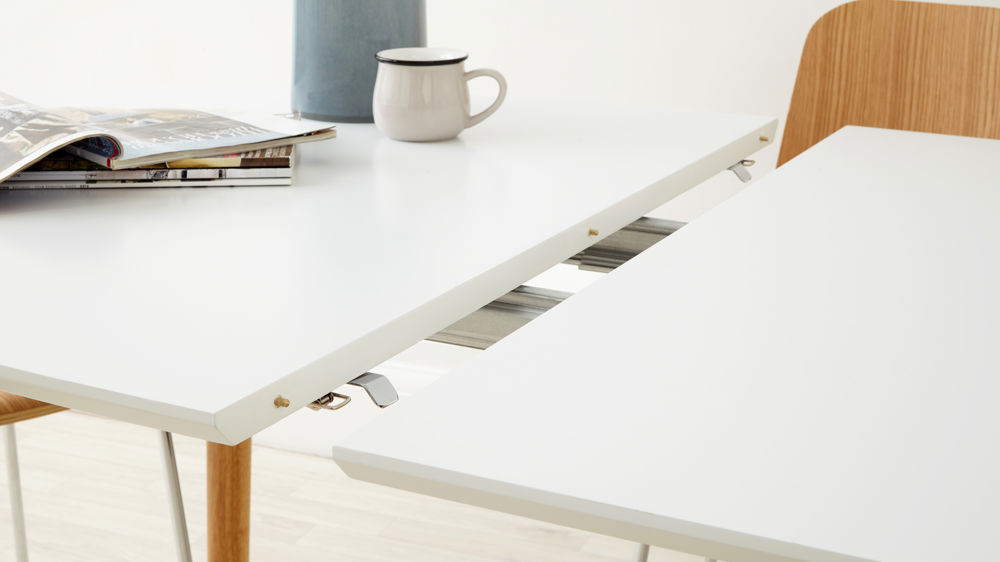 Contemporary matt white and oak extending dining table