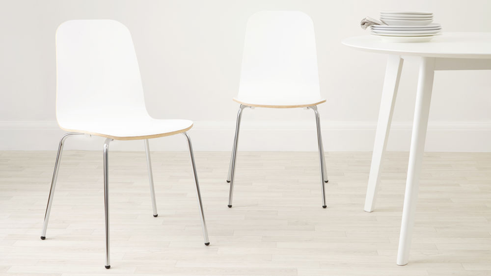 White painted wood dining chair