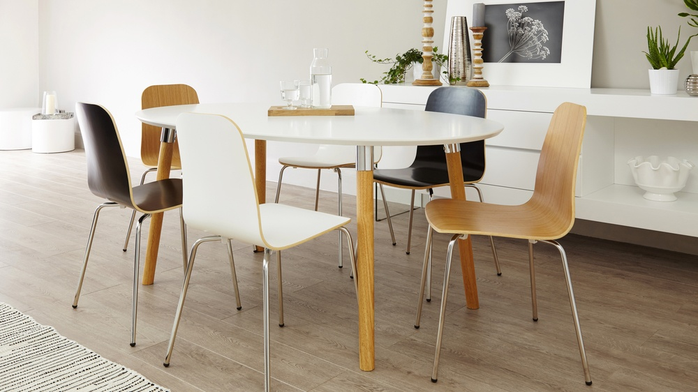 Ten seater white extending dining table