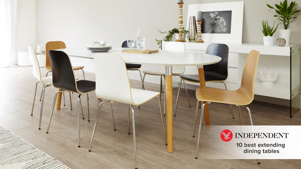 Matt white extending dining table featured in the Independent