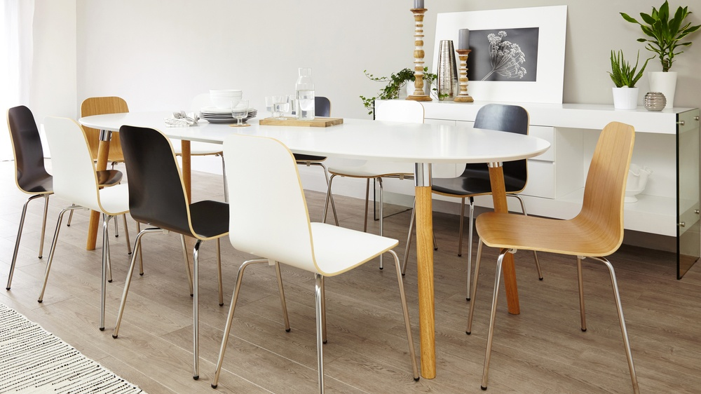 White and oak extending dining table