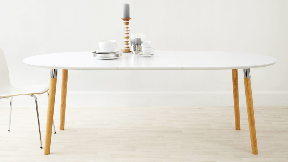 Satin white oak and chrome extending dining table
