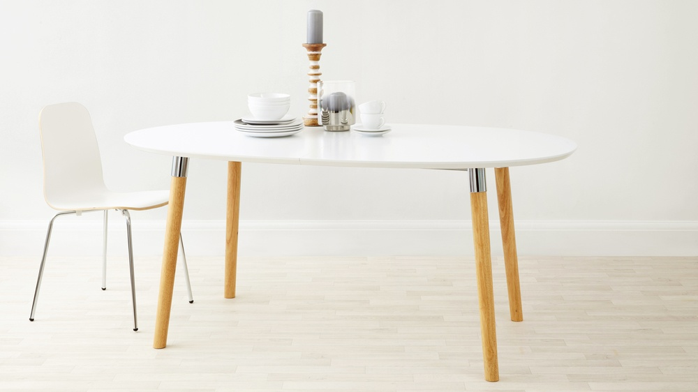 Extending white, oak and chrome dining table