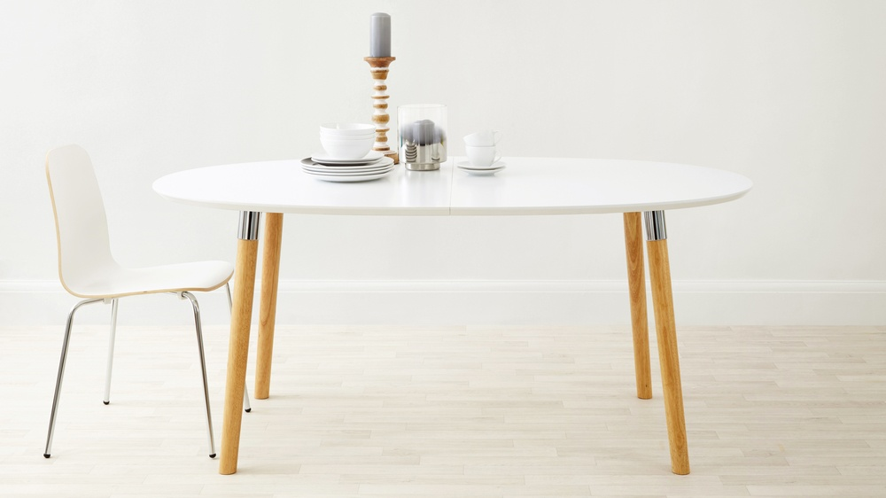 mid century modenr modern oval white extending dining table