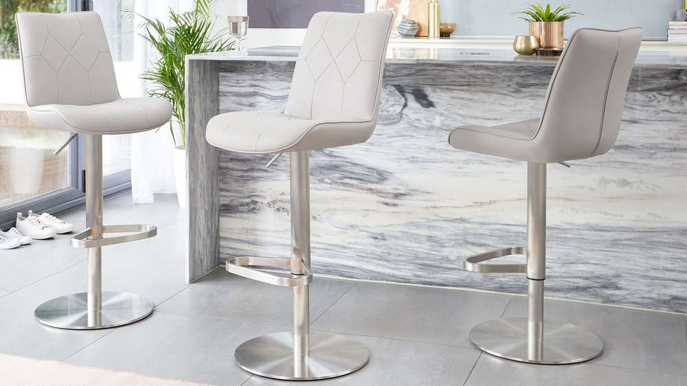 Light grey gas lift quilted bar stools