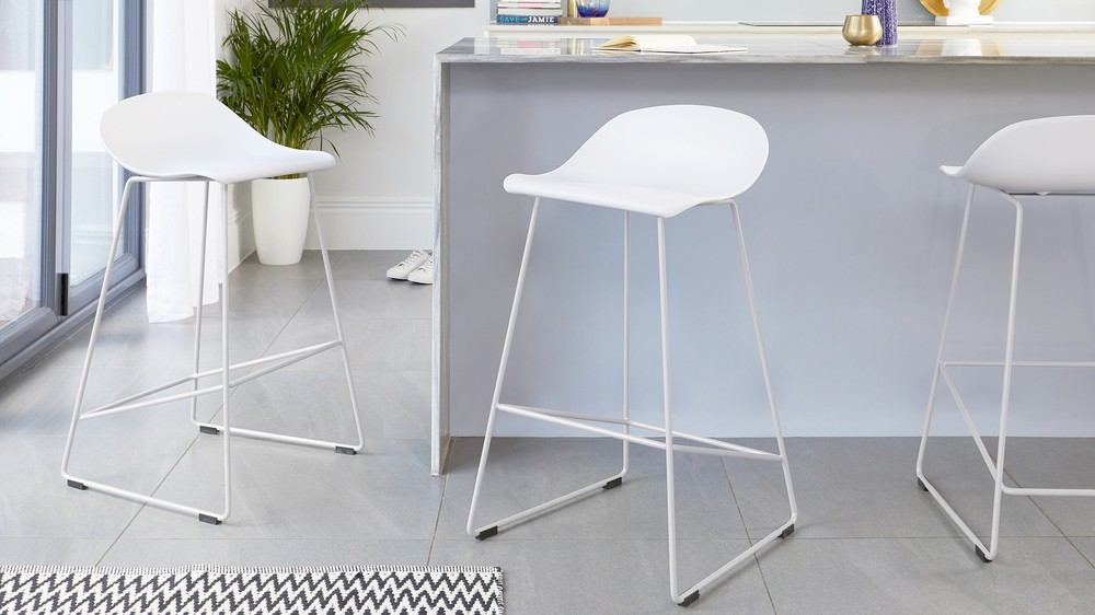 White simplistic bar stools