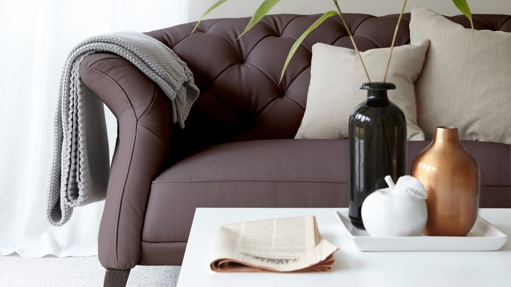 Modern Brown Leather Quilted Sofa