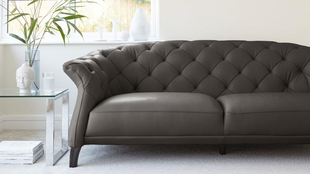 Luxe Modern 2 To 3 Seater Leather Chesterfield Sofa Danetti