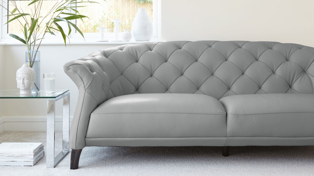 Delightful Cloud Grey Quality Leather Sofa