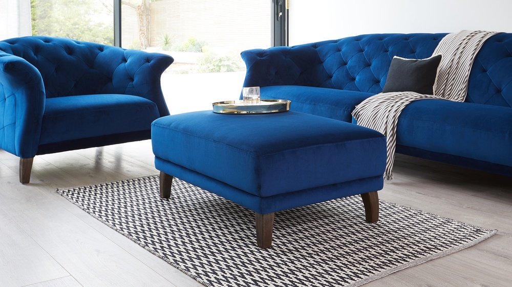 Luxe Modern 2 to 3 Seater Velvet Chesterfield Sofa
