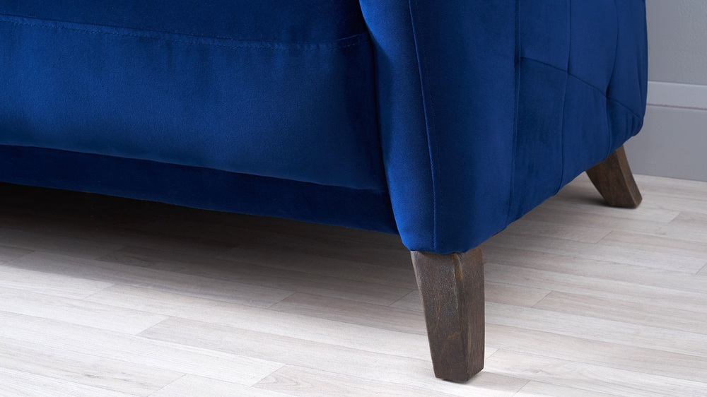 Modern velvet sofa with wooden leg