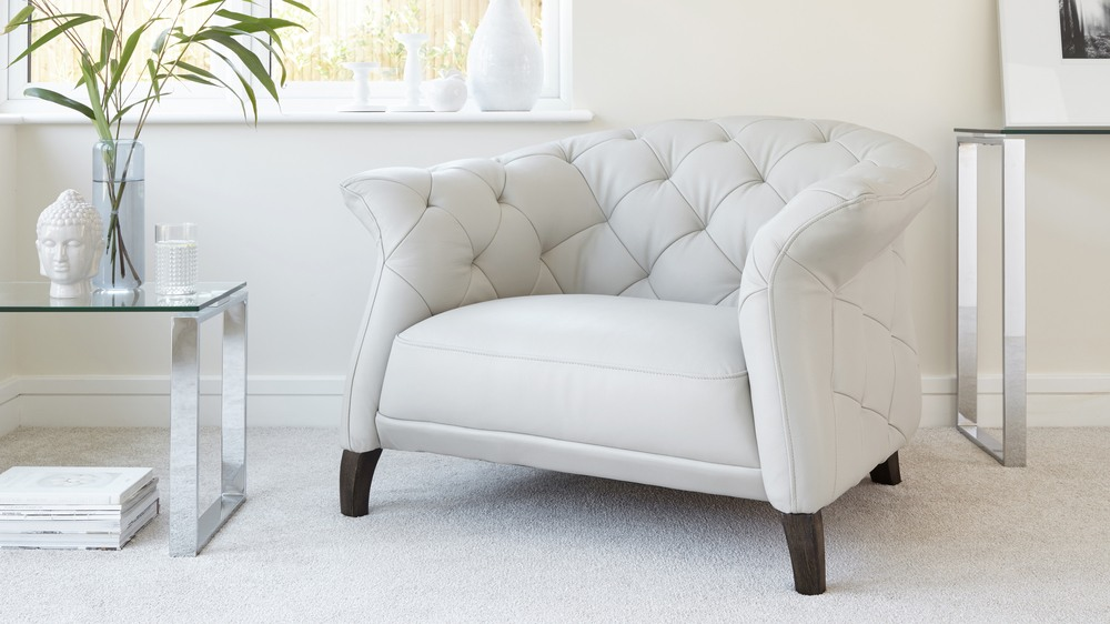 Modern Grey leather Armchair with footstool | UK Delivery