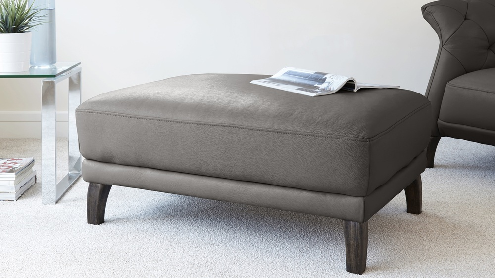 Stone Grey Leather Footstool