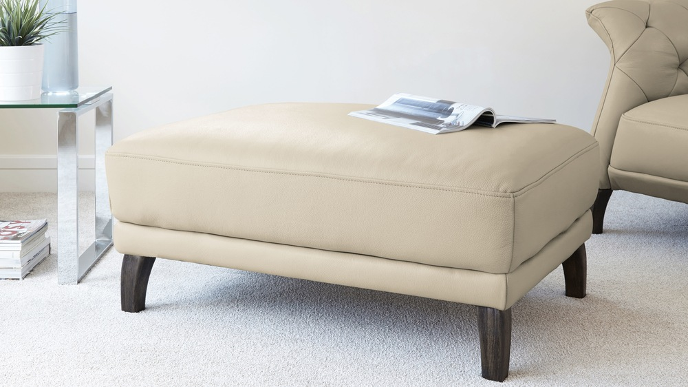 Parchment Leather Footstool