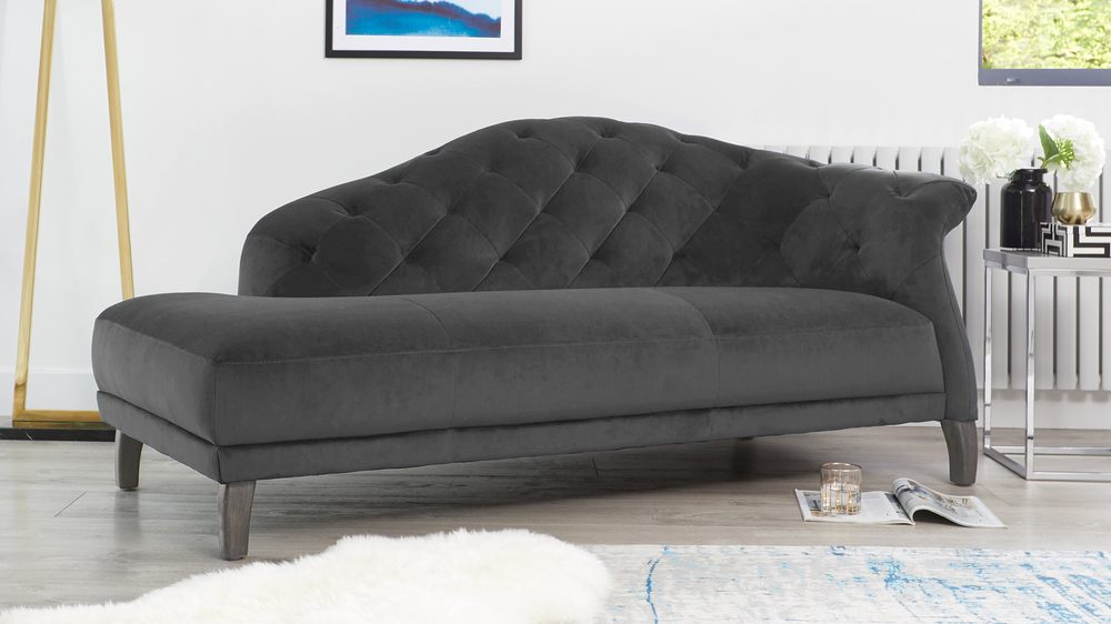 Luxe Modern Velvet Chaise Lounge Right Handing