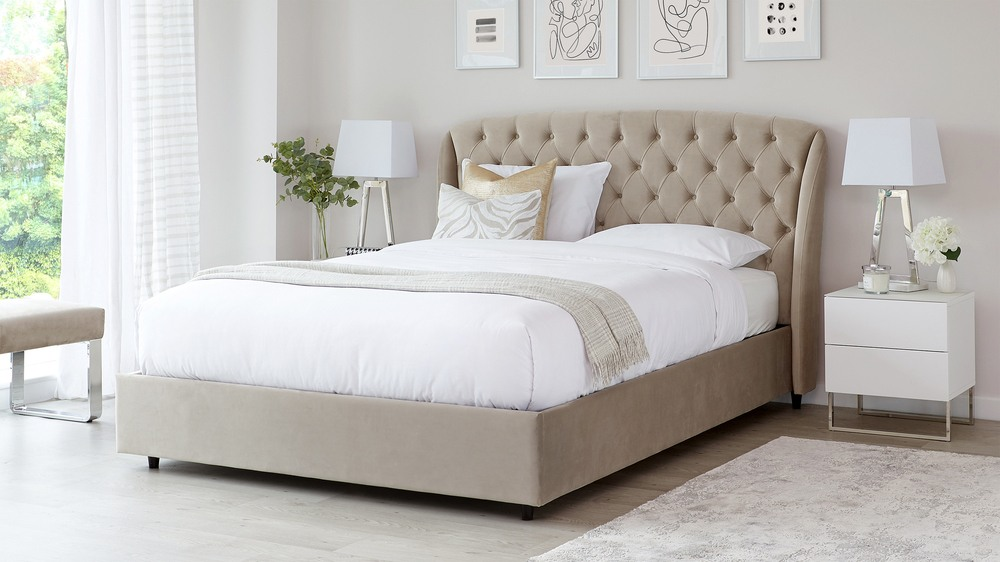 Manolo Champagne Velvet Super King Size Bed with Storage